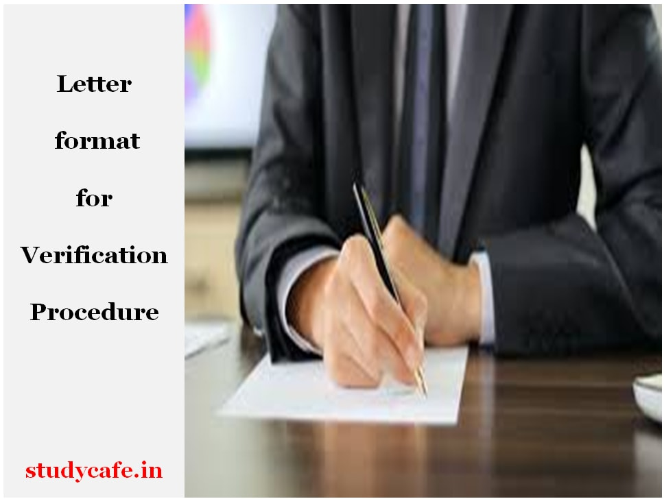 LETTER FORMAT FOR VERIFICATION PROCEDURE FOR CA PAPERS