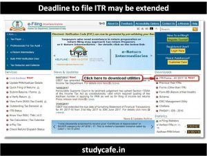 deadline to file ITR may be extended