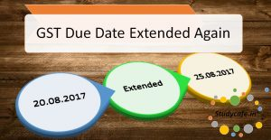 Deadline for filing and payment of GSTR 3B extended to 25th August 2017