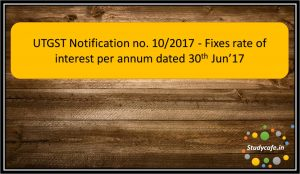 UTGST Notification no. 10/2017 - Fixes rate of interest per annum