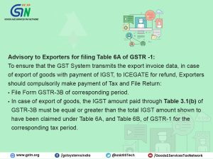 GSTN Advisory for Exporters for filing Table 6A of GSTR-1