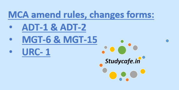 MCA amend rules, changes forms: ADT-1 & ADT-2 Forms , MGT-6 & MGT-15, URC- 1