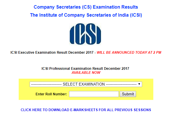 ICSI announced Executive Examination Result December 2017