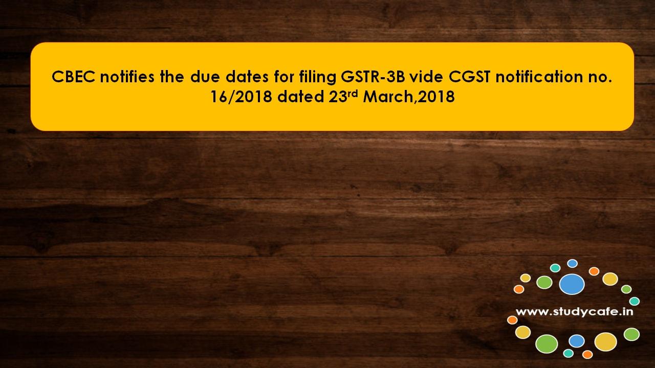 CBEC notifies the due dates for filing GSTR-3B