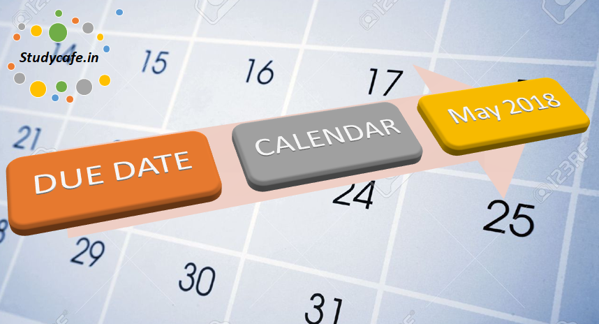 Due date calendar of May 2018   GST Due date calendar for May 2018