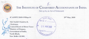 ICAI Representation to CBDT, Representation made by ICAI to CBDT, Representation submitted to CBDT by Direct Taxes Committee of ICAI for making Chartered Accountants ineligible to determine the FMV of unquoted equity shares.