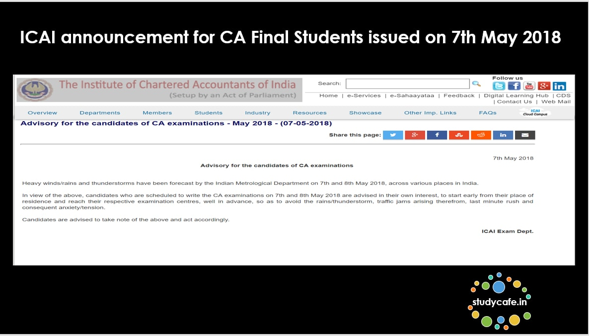 ICAI announcement for CA Final Students issued on 7th May 2018