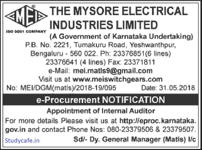 Mysore Electrical Industries Limited Invites CA Firm For Its Internal Audit
