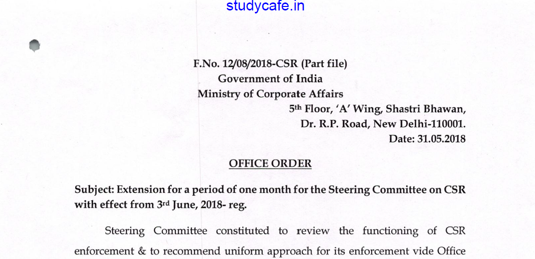 Extension of period of one month for Steering Committee on CSR by MCA