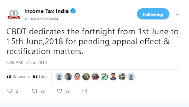 CBDT dedicates fortnight for pending appeal effect | Rectification matters