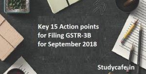 Key 15 Action Points for filing GSTR -3B for September 2018