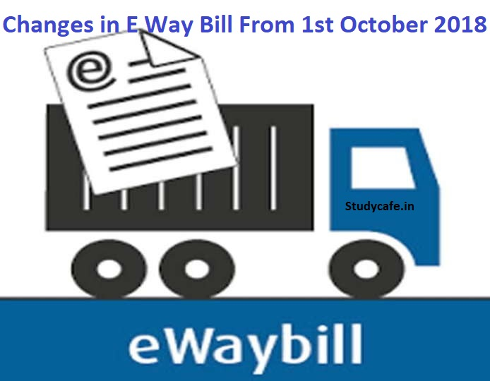 Changes in E Way Bill system from 1st October 2018