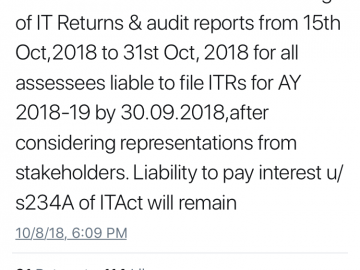 CBDT extends due date for filing ITR & audit reports to 31th Oct 2018
