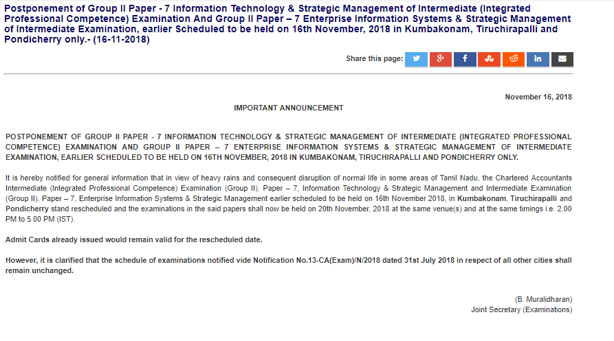 CA Exam paper Postponed in some places in Tamil Nadu