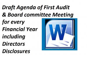 Draft Agenda of First Audit & Board committee Meeting