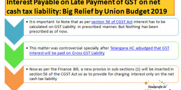 Interest Payable on Late Payment of GST on net cash tax liability: Big Relief by Union Budget 2019