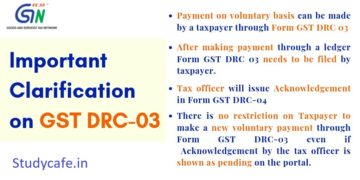 CBIC Clarification on GST DRC-03 for Payment of tax on voluntary basis