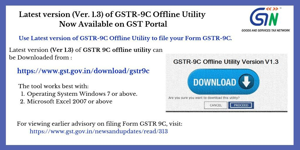 Latest version of GSTR9C Offline Utility is now available on GST Portal