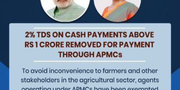 MOF decides not to levy 2% TDS on cash payments above Rs 1 cr. made through APMCs