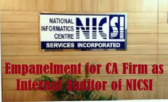 Empanelment for CA Firm as Internal Auditor of NICSI