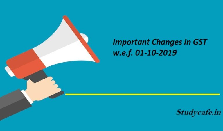 Important Changes in GST w.e.f. 01-10-2019