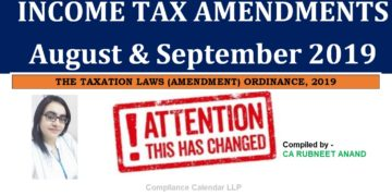 Income Tax Amendments (August & September 2019)