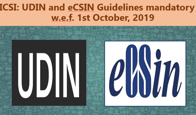 ICSI: UDIN and eCSIN Guidelines mandatory w.e.f. 1st October, 2019