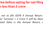 Do think twice before opting for not filing GSTR 9 for turnover less than 2 crore