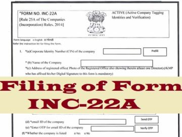 Filing of Form INC-22A