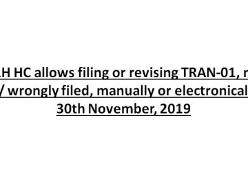 P&H HC allows filing or revising TRAN-01, not filed/ wrongly filed, manually or electronically by 30th November, 2019