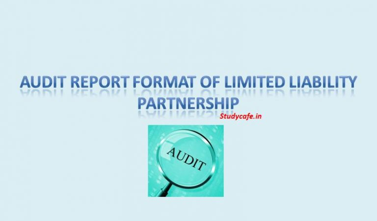 AUDIT REPORT FORMAT OF LIMITED LIABILITY PARTNERSHIP