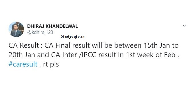 CA Result : CA Final result to be declared between 15th to 20th Jan 2020