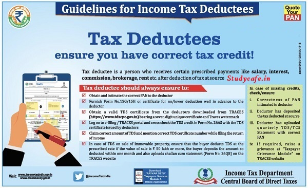 Guidelines for Income Tax Deductees : How to ensure you have correct tax credit