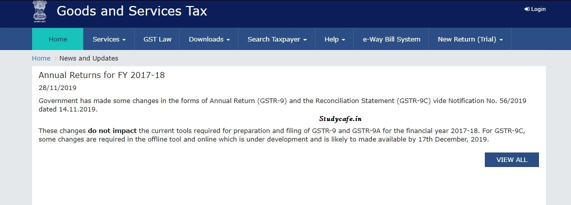 New tool for filing GSTR 9C now to be made available from 17th Dec 19