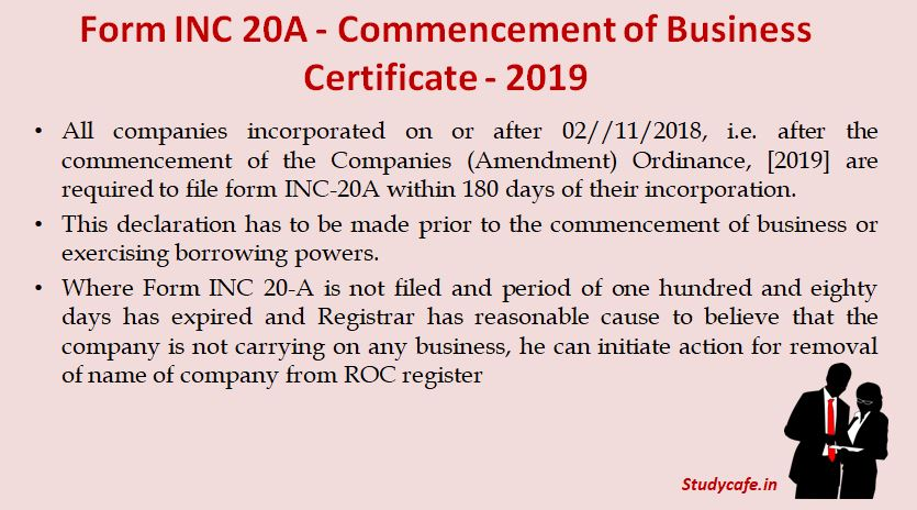 Form INC 20A - Commencement of Business Certificate - 2019