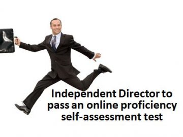Independent Director to pass an online proficiency self-assessment test