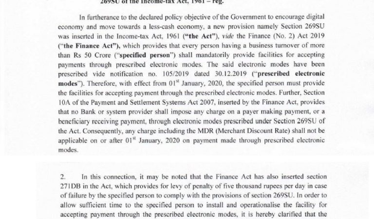 CBDT prescribes electronic payment modes for newly inserted Sec. 269SU purposes