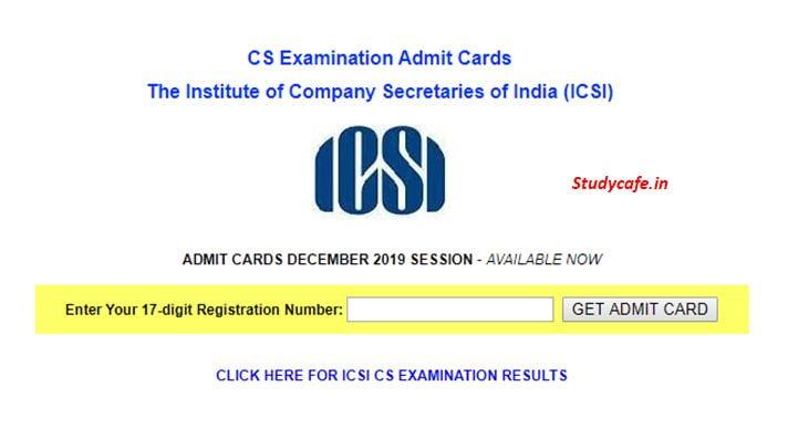 ICSI Released Admit Cards for CS December 2019 Exam