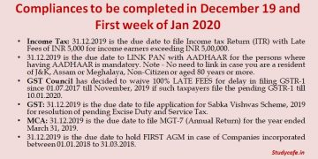Compliances to be completed in December 19 and First week of Jan 2020
