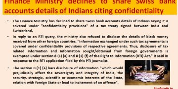 Finmin declines to share Swiss bank accounts details of Indians citing confidentiality