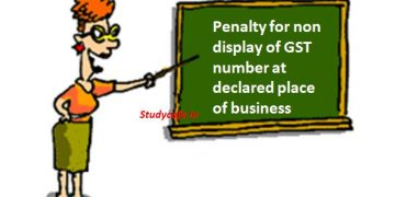 Penalty for non display of GST number at declared place of business