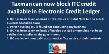 Taxman can now block ITC credit available in Electronic Credit Ledger