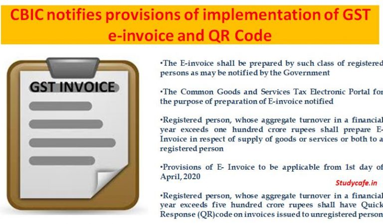 CBIC notifies provisions of implementation of GST e-invoice and QR Code