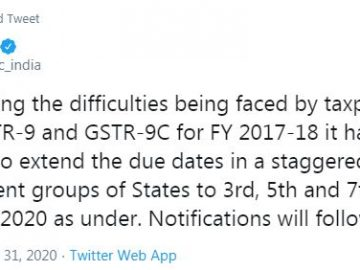 GSTR 9 and GSTR 9C due date for FY 2017-18 extended in staggered manner