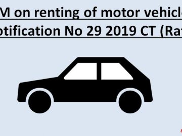 RCM on renting of motor vehicles : Notification No 29/2019 CT (Rate)