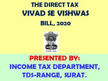 THE DIRECT TAX VIVAD SE VISHWAS BILL, 2020