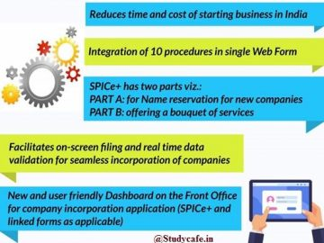 Key features of SPICe+ for Greater Ease of Doing Business