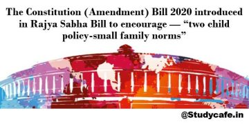 """The Constitution (Amendment) Bill 2020 - """"two child policy-small family norms"""""""