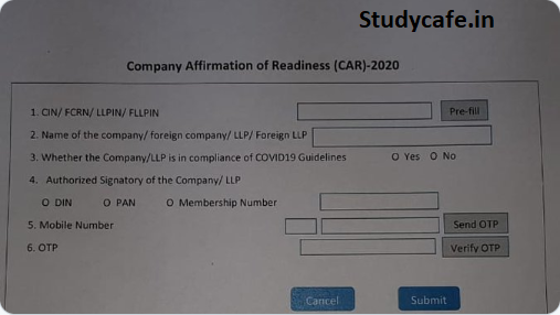 Format of Form CAR (Company Affirmation of Readiness towards COVID-19)
