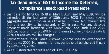 Tax deadlines of GST & Income Tax Deffered, Compliance Eased: Read Press Note